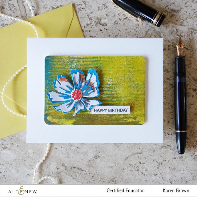 Gel Press + Die Cut Flowers for a card.