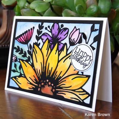 Simon Says Stamp Birthday Word Mix 1 Circle Happy Birthday sentiment.
