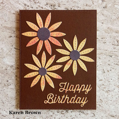 Handmade Card with Memory Box Perky Happy Birthday die