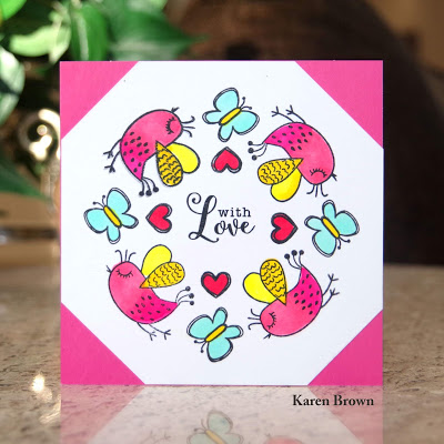 Handmade card featuring butterflies and hearts from Inkblot Shop\'s This & That Stamp set.