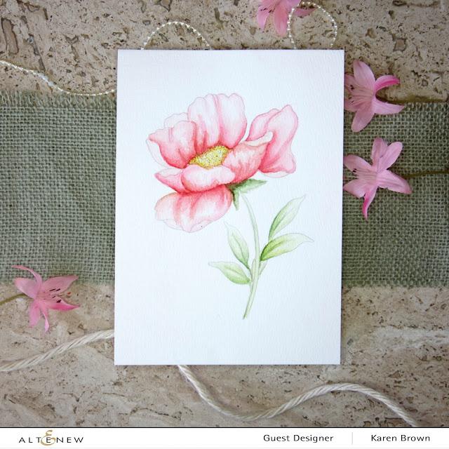 Altenew Watercolor pink poppy
