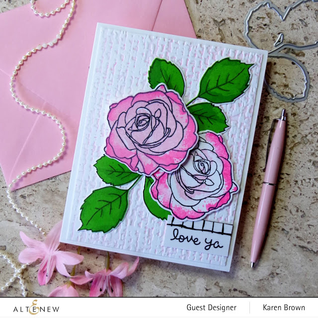 3D embossing folder with pink pigment ink.