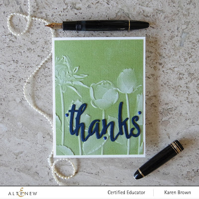 White pigment ink + 3D embossing folder = colored cardstock