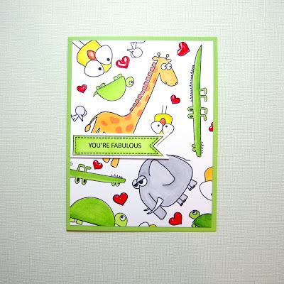 Pattern Stamped handmade card using Simon Says Stamp Stacking Animals.  Giraffe, elephant, turtle and bird.