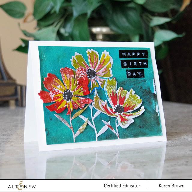 Gel Press Die Cut Flowers