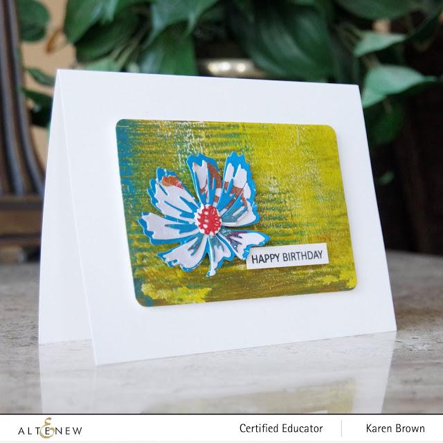 Acrylic Monoprint die cut flower