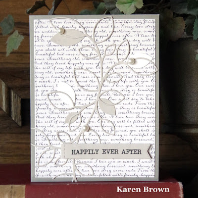 A handmade card using Echo Park\'s  Wedding Bliss patterned papers.