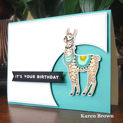 Handcrafted llama card using the Paprika stamp and die set by PhotoPlay.