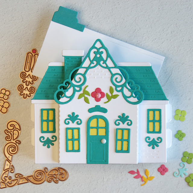 Amazing Paper Grace July 2021 Pop Up House kit with tabbed sentiment card.