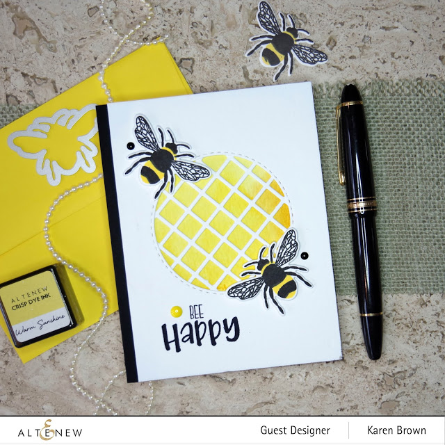 Altenew bee themed card with Garden Trellis cover die.