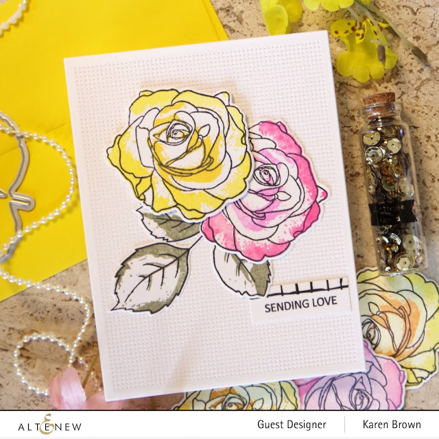 Two Altenew Roses on a Handmade Card