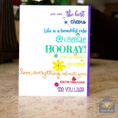 Sentiment Card in Rainbow colors.