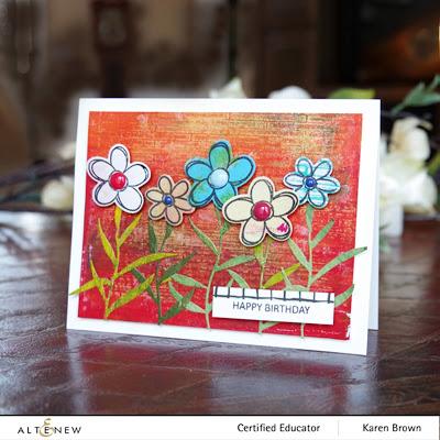 Altenew Doodle Blooms and Narrow Brick Stencil