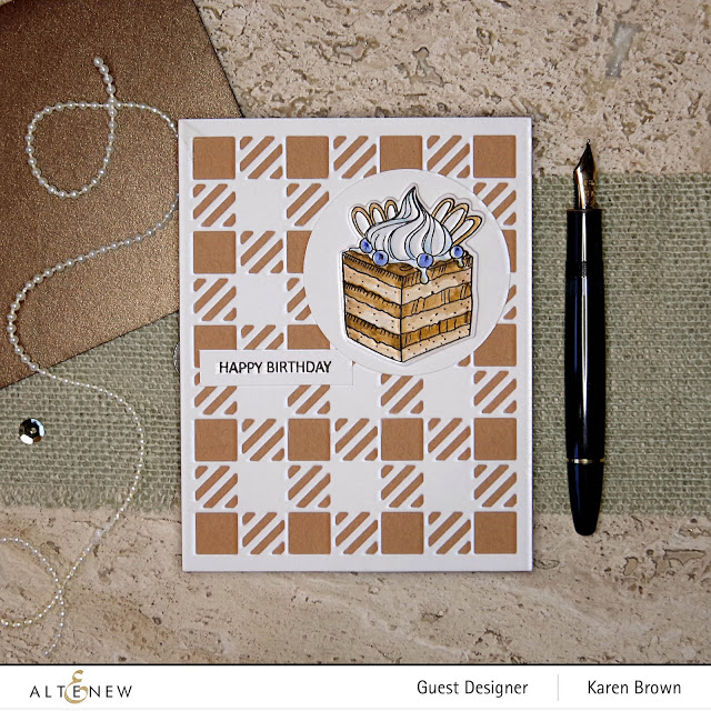 Altenew Cozy Flannel cover die with Kraft card stock.