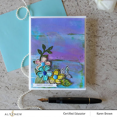 Blue and Violet Monet like Mixed Media card.