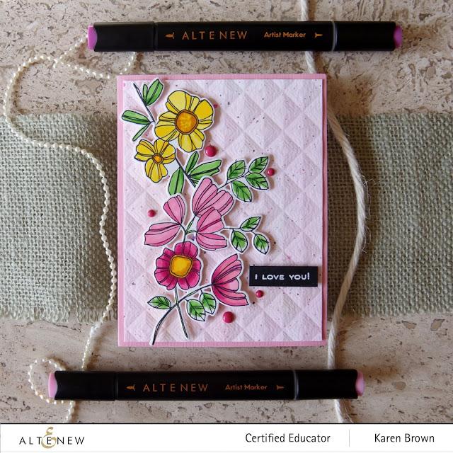 Altenew Weekend Doodles + Altenew Sunshine Valley Garden Set F markers + Modern Squares 3D embossing folder