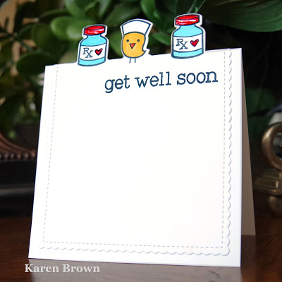 CAS card with off the edge die-cutting using Lawn Fawn\'s Get Well Soon stamp and die set.