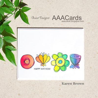 WPlus9 Doodle Buds Floral Card.