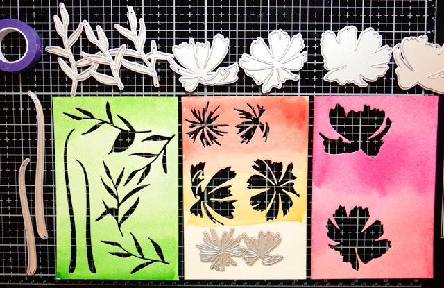 Water coloring floral Layering die cuts