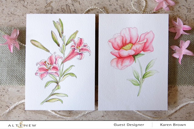 Altenew watercolor Lilly and Poppy