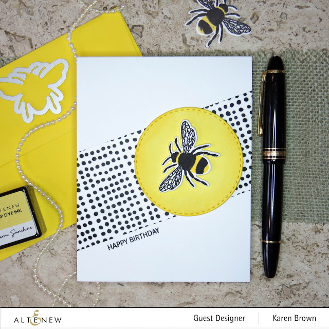 Altenew Many Dots Washi tape and Bee Kind themed card.