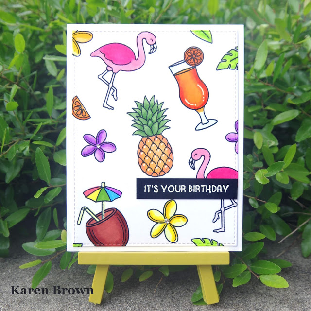 Pattern stamping using Sunny Studio\'s Tropical Paradise stamp set.