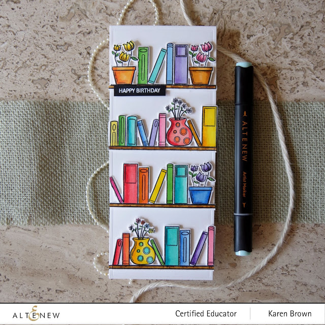 Rainbow colored library bookshelves.