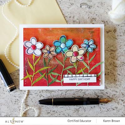 Altenew Doodle Bloom Die Cut Mixed Media Card