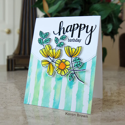 Bright card featuring Altenew Watercolor Stripes Stencil and Weekend Doodles stamp and die bundle.