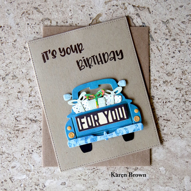 Masculine card featuring a blue truck.
