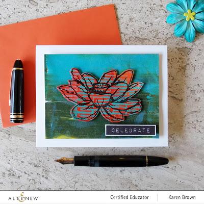 Acrylic Paint Gel Press Mixed Media Card.