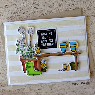A scene card featuring Altenew Gardent Grow and Tea Time stamp and die bundles with Watercolor Stripes stencil and texture paste to create the background.