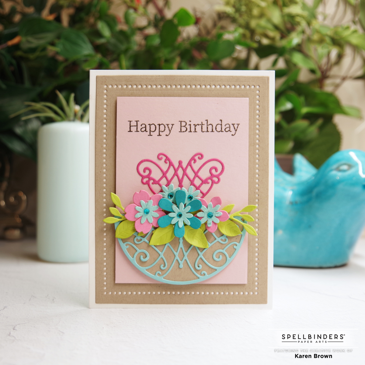 Spellbinder's August 2021 Amazing Paper Grace Die of the Month Card in Kraft, Pink and Aqua.