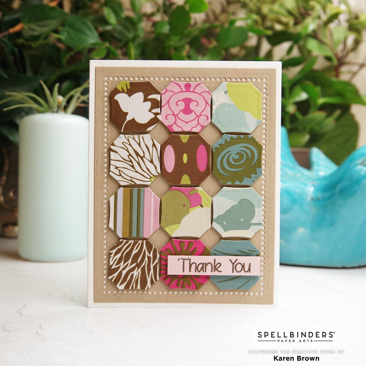 Spellbinder's August 2021 Amazing Paper Grace die cut octagon tile card in Kraft, Aqua, Brown and Pink.