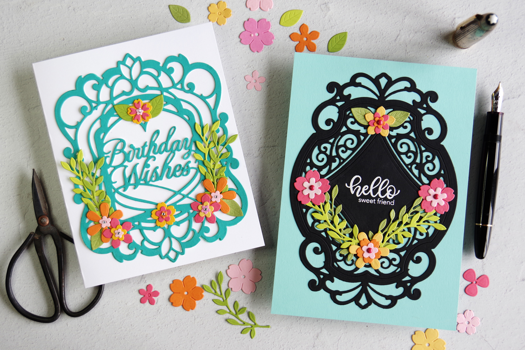 Spellbinders Amazing Paper Grace Beautiful Sentiment Vignettes Die Cut Cards