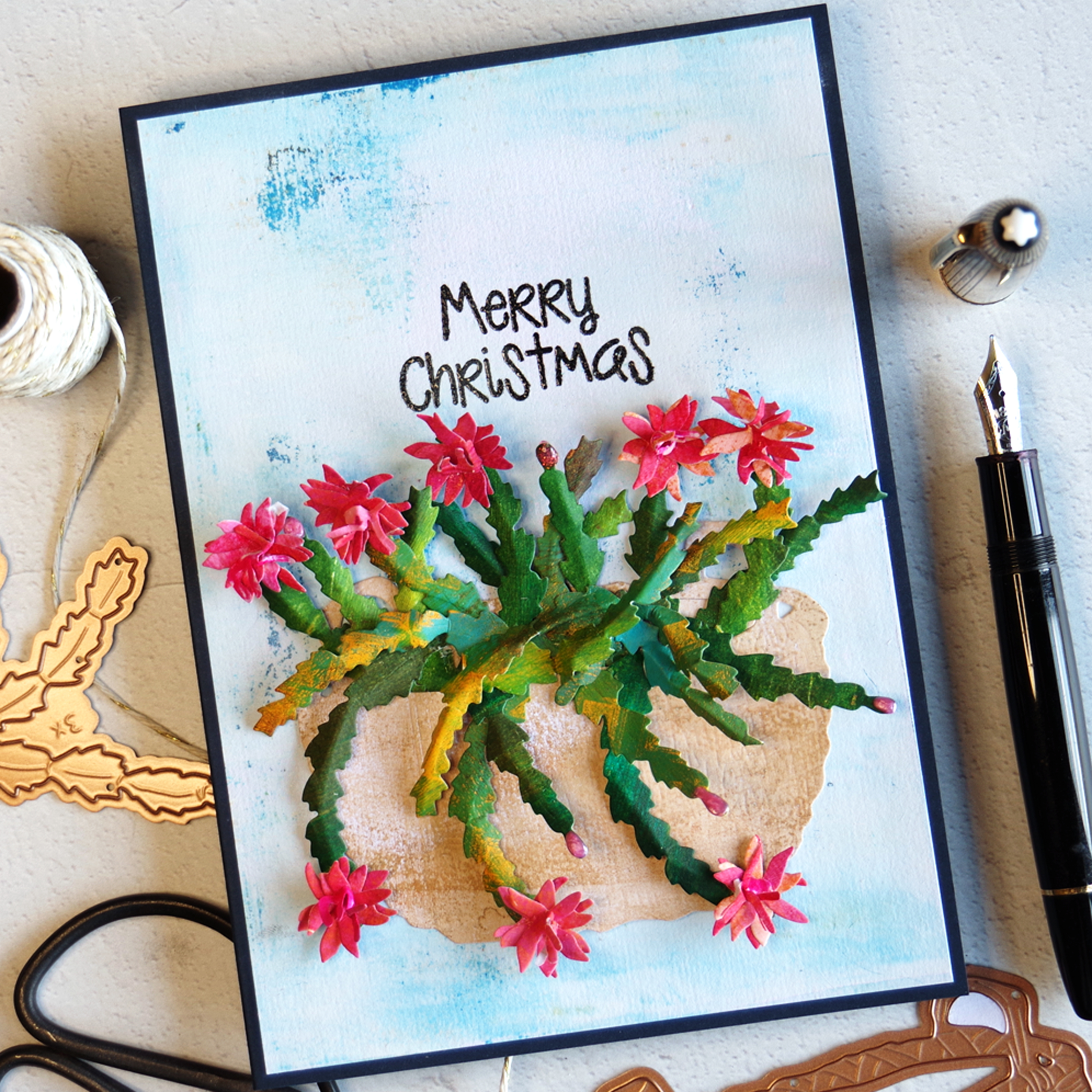 Die Cut Christmas Cactus Card.