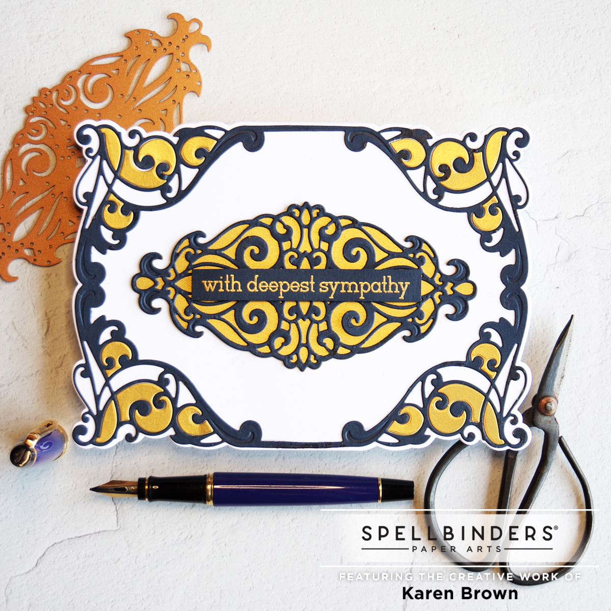 Navy and Gold color combination for elegant shaped sympathy cards.